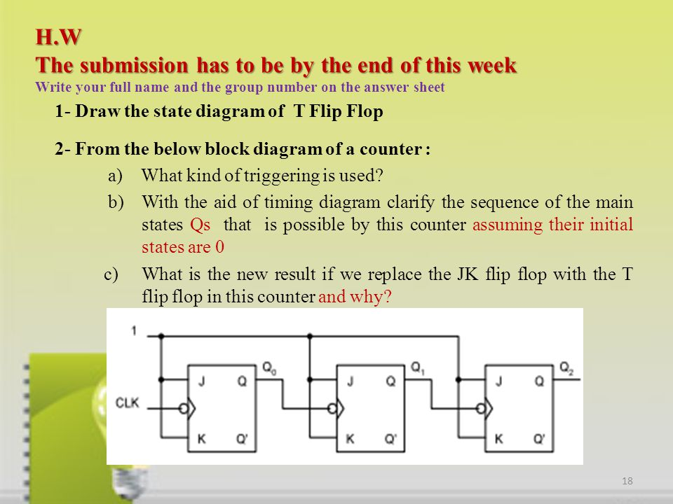 H.W The submission has to be by the end of this week H.W The submission has to be by the end of this week Write your full name and the group number on the answer sheet 1- Draw the state diagram of T Flip Flop 2- From the below block diagram of a counter : a) What kind of triggering is used.