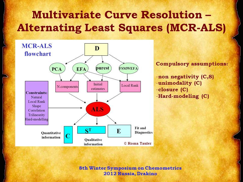 Multivariate Curve Resolution – Alternating Least Squares (MCR-ALS) Compulsory assumptions: - non negativity (C,S) - unimodality (C) - closure (C) - Hard-modeling (C) © Roma Tauler 8th Winter Symposium on Chemometrics 2012 Russia, Drakino