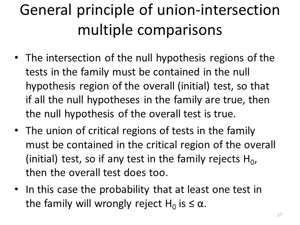 General principle of union-intersection multiple comparisons The intersection of the null hypothesis regions of the tests in the family must be contai