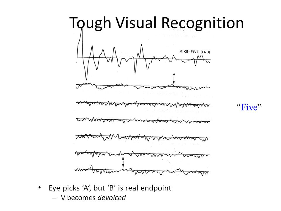 Tough Visual Recognition Eye picks 'A', but 'B' is real endpoint – V becomes devoiced Five