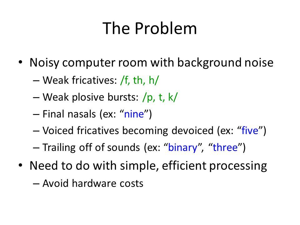 "The Problem Noisy computer room with background noise – Weak fricatives: /f, th, h/ – Weak plosive bursts: /p, t, k/ – Final nasals (ex: ""nine"") – Voi"
