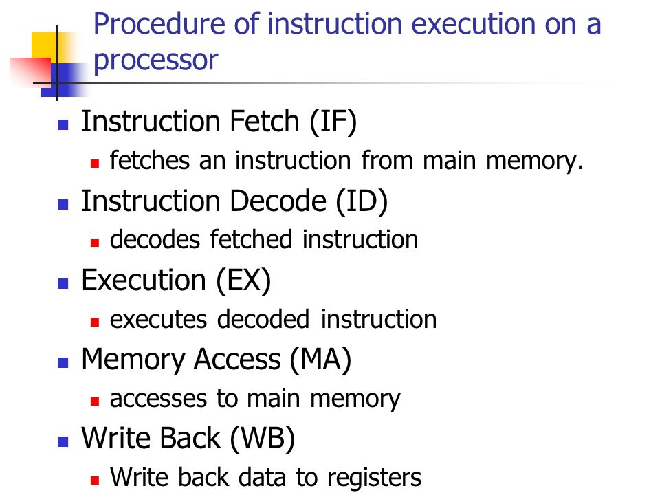 Procedure of instruction execution on a processor Instruction Fetch (IF) fetches an instruction from main memory.