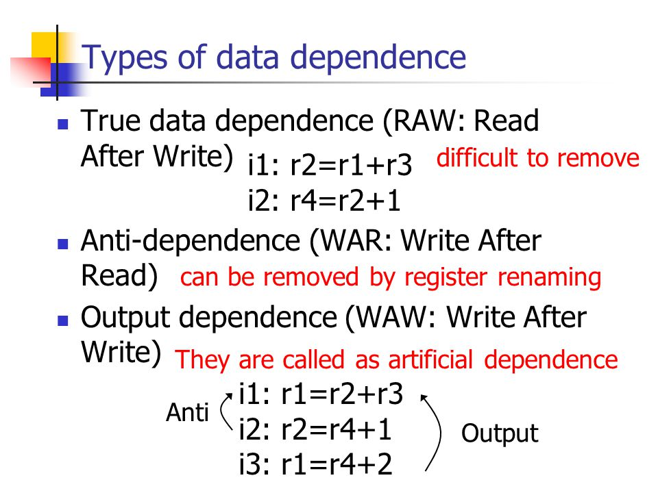Types of data dependence True data dependence (RAW: Read After Write) Anti-dependence (WAR: Write After Read) Output dependence (WAW: Write After Write) i1: r2=r1+r3 i2: r4=r2+1 i1: r1=r2+r3 i2: r2=r4+1 i3: r1=r4+2 Anti Output difficult to remove can be removed by register renaming They are called as artificial dependence