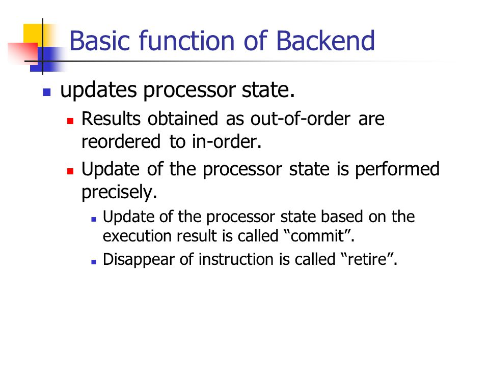 Basic function of Backend updates processor state.