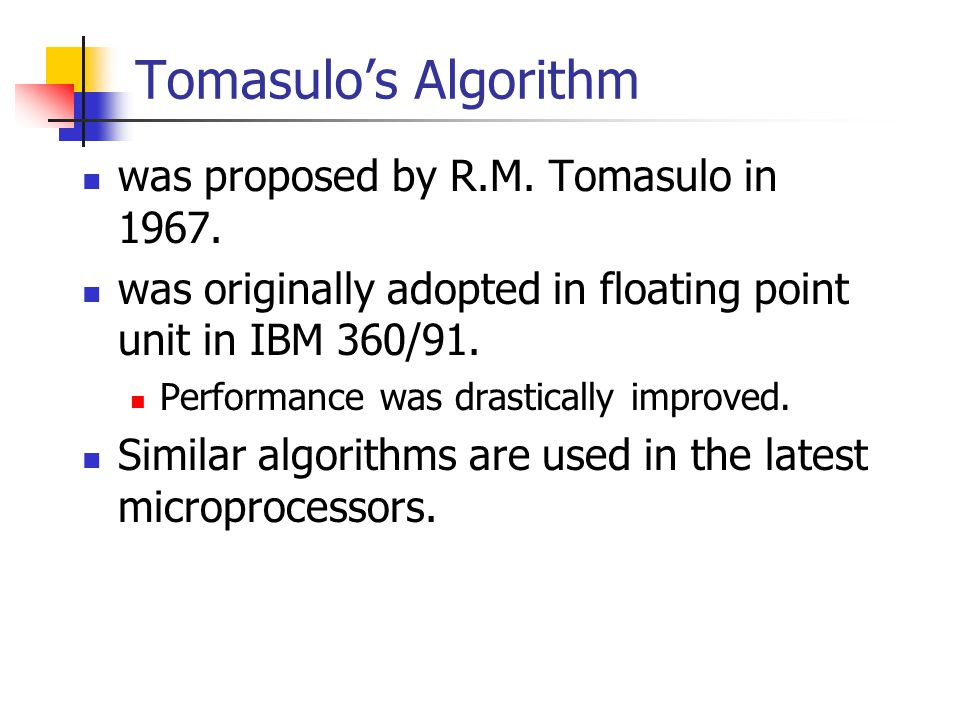 Tomasulo's Algorithm was proposed by R.M.Tomasulo in 1967.