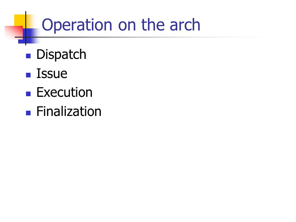 Operation on the arch Dispatch Issue Execution Finalization