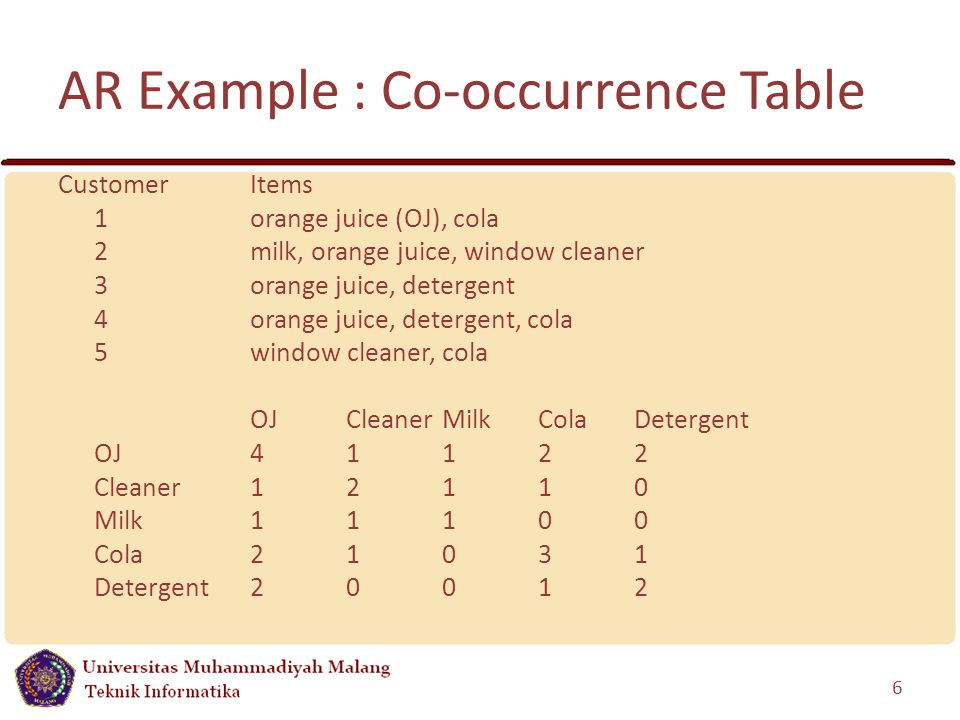 AR Example : Co-occurrence Table CustomerItems 1orange juice (OJ), cola 2 milk, orange juice, window cleaner 3 orange juice, detergent 4 orange juice, detergent, cola 5 window cleaner, cola OJCleaner MilkColaDetergent OJ 41122 Cleaner12110 Milk11100 Cola21031 Detergent20012 6
