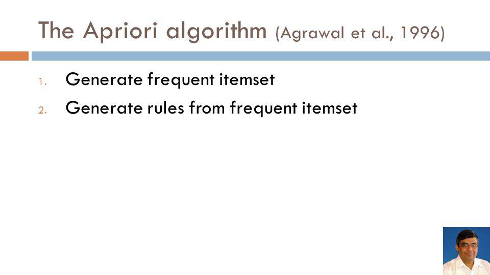 The Apriori algorithm (Agrawal et al., 1996) 1.Generate frequent itemset 2.