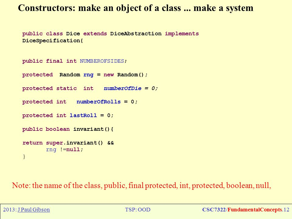 2013: J Paul GibsonTSP: OODCSC7322/FundamentalConcepts.12 Constructors: make an object of a class... make a system Note: the name of the class, public