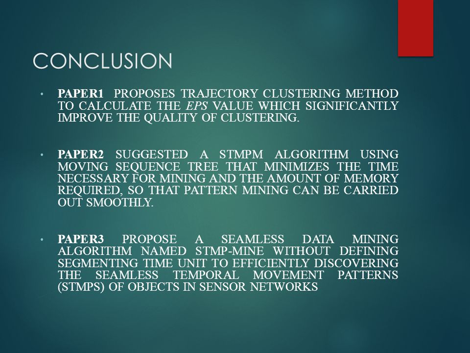 CONCLUSION PAPER1 PROPOSES TRAJECTORY CLUSTERING METHOD TO CALCULATE THE EPS VALUE WHICH SIGNIFICANTLY IMPROVE THE QUALITY OF CLUSTERING. PAPER2 SUGGE