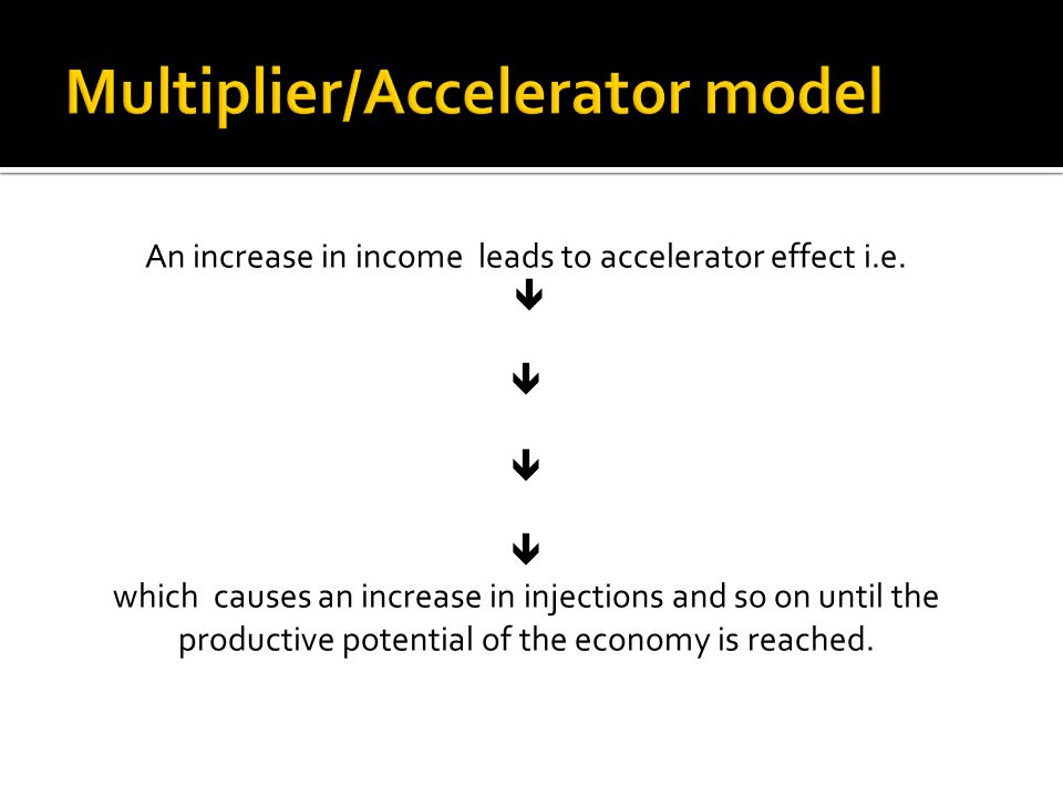 An increase in income leads to accelerator effect i.e.  which causes an increase in injections and so on until the productive potential of the econom