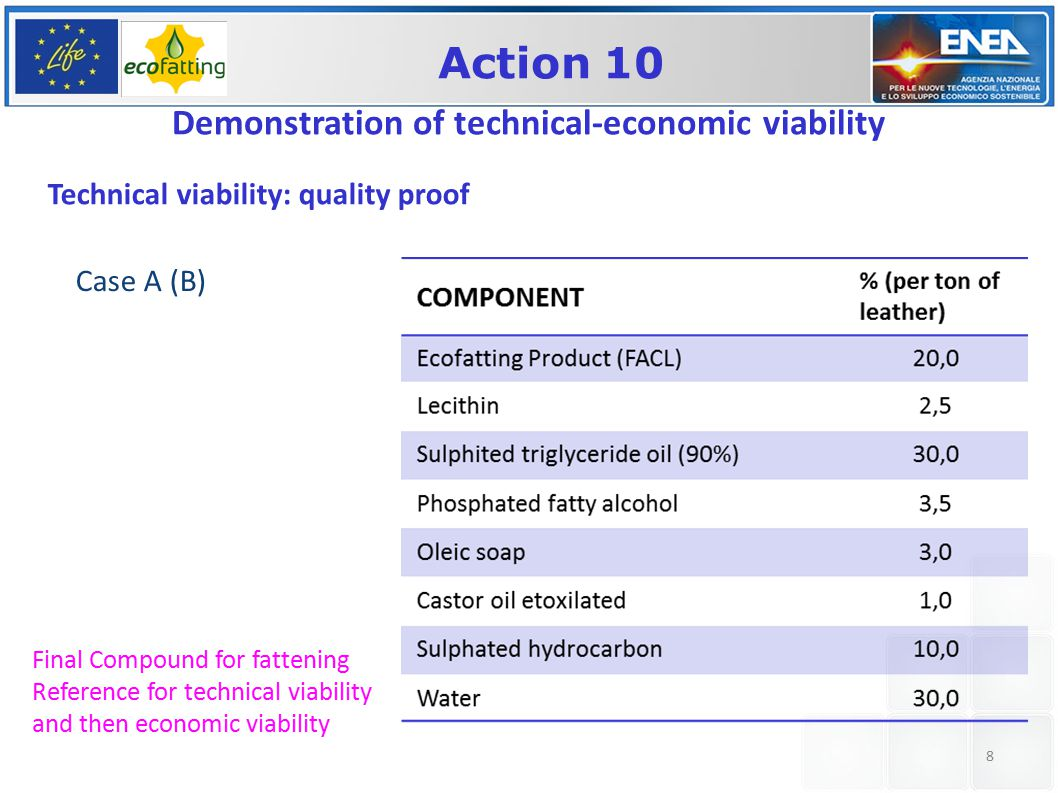8 Action 10 Demonstration of technical-economic viability Technical viability: quality proof Final Compound for fattening Reference for technical viability and then economic viability Case A (B)