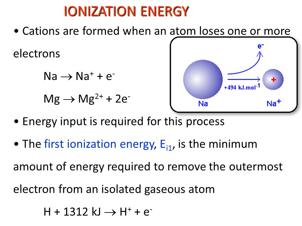 IONIZATION ENERGY Cations are formed when an atom loses one or more electrons Na  Na + + e - Mg  Mg 2+ + 2e - Energy input is required for this process The first ionization energy, E i1, is the minimum amount of energy required to remove the outermost electron from an isolated gaseous atom H + 1312 kJ  H + + e -