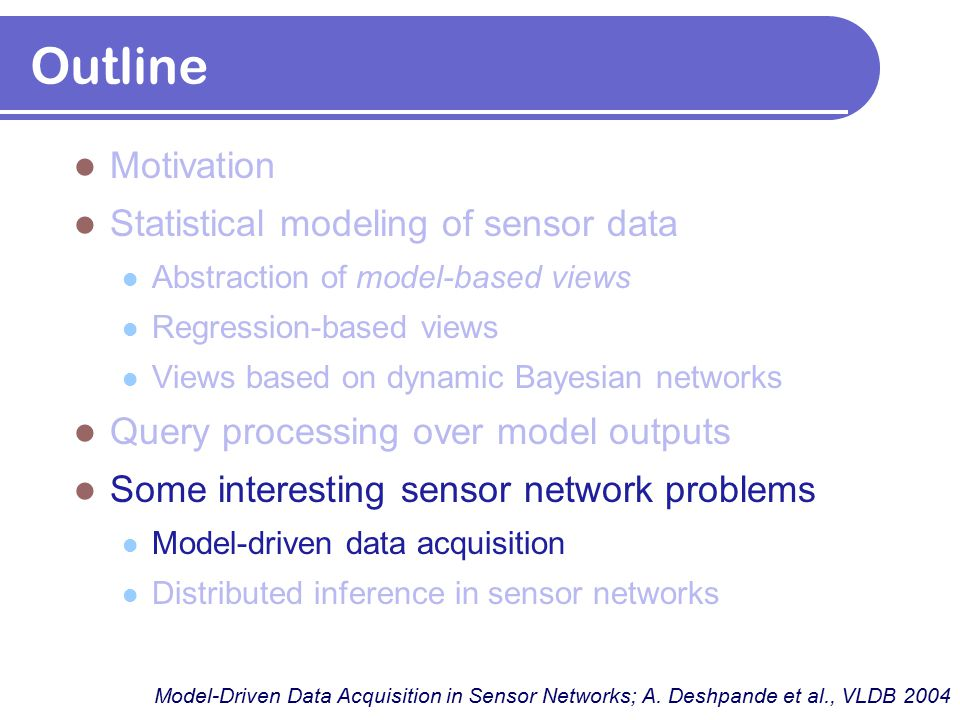 Outline Motivation Statistical modeling of sensor data Abstraction of model-based views Regression-based views Views based on dynamic Bayesian network