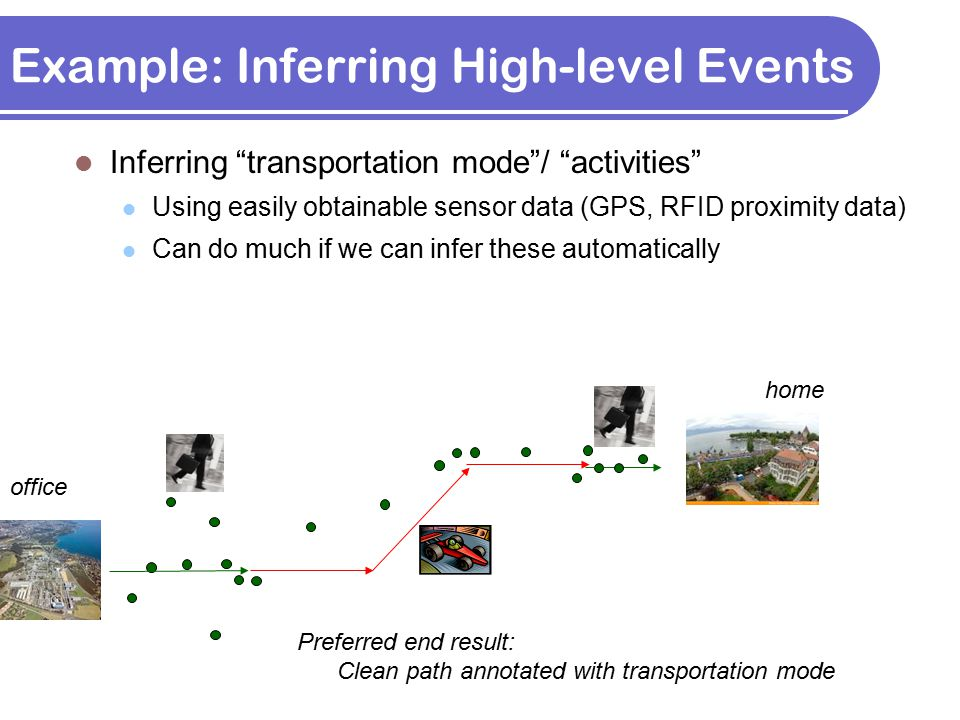 "Inferring ""transportation mode""/ ""activities"" Using easily obtainable sensor data (GPS, RFID proximity data) Can do much if we can infer these automat"