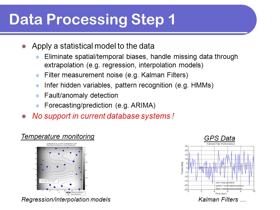 Data Processing Step 1 Apply a statistical model to the data Eliminate spatial/temporal biases, handle missing data through extrapolation (e.g. regres