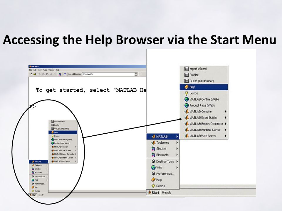 Accessing the Help Browser via the Start Menu