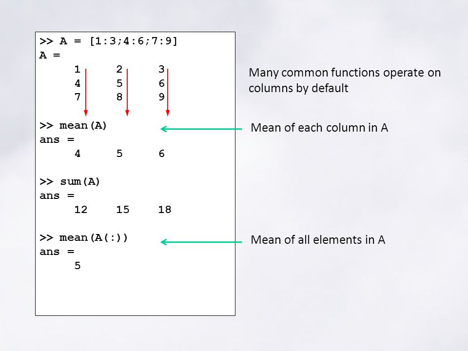 >> A = [1:3;4:6;7:9] A = 1 2 3 4 5 6 7 8 9 >> mean(A) ans = 4 5 6 >> sum(A) ans = 12 15 18 >> mean(A(:)) ans = 5 Many common functions operate on columns by default Mean of each column in A Mean of all elements in A