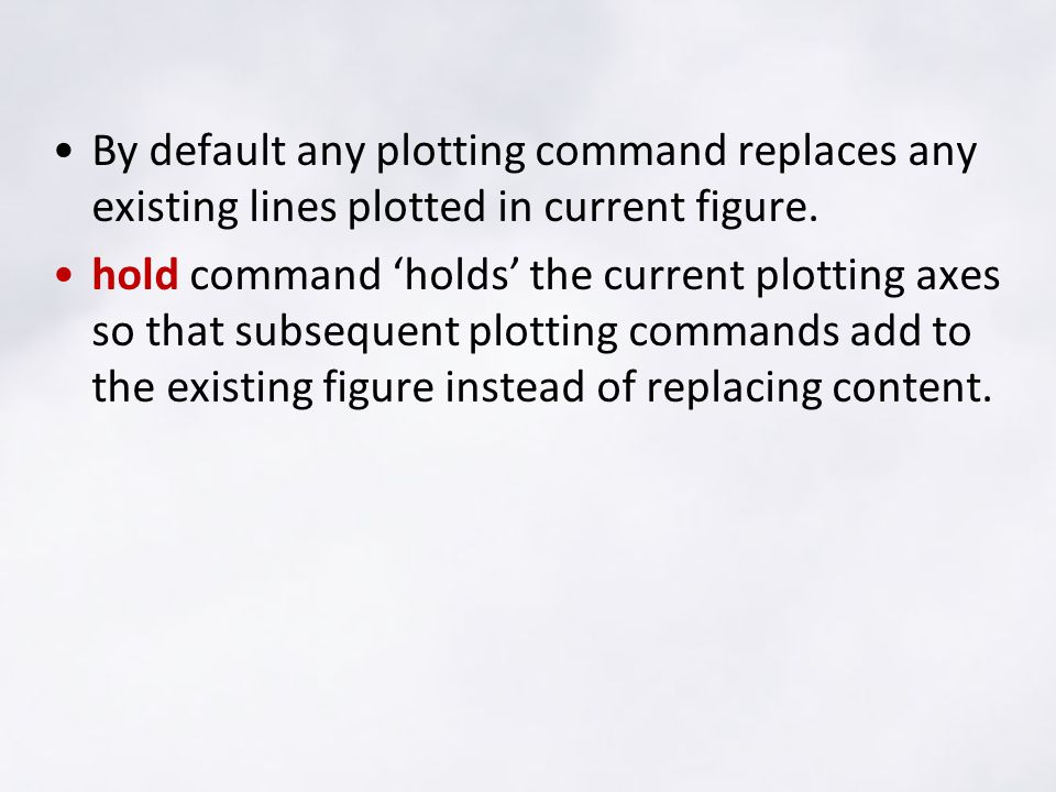 By default any plotting command replaces any existing lines plotted in current figure.