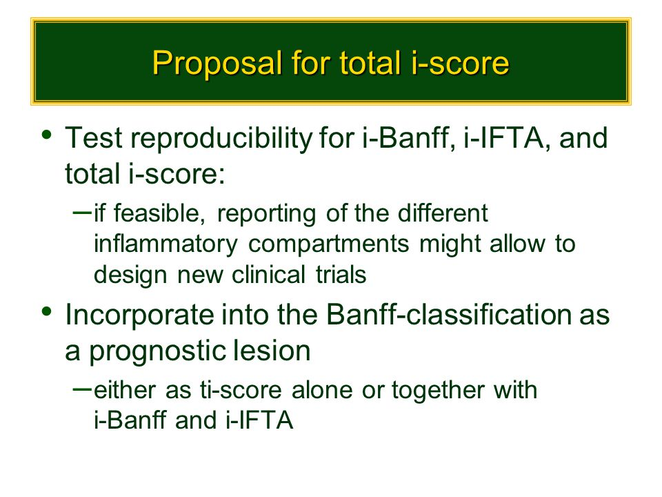 Proposal for total i-score Test reproducibility for i-Banff, i-IFTA, and total i-score: – if feasible, reporting of the different inflammatory compart