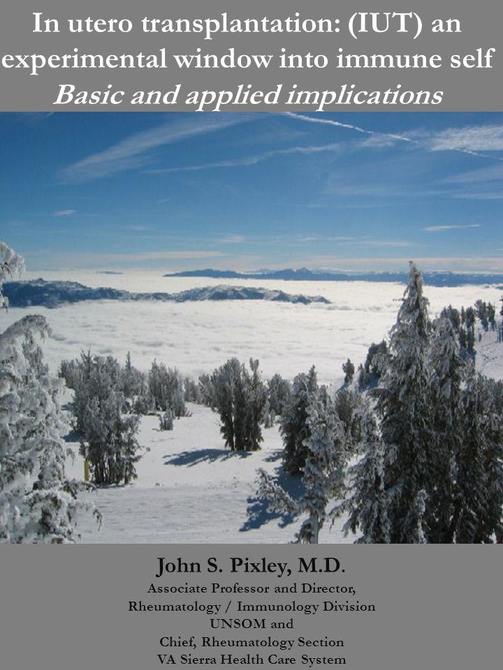 In utero transplantation: (IUT) an experimental window into immune self Basic and applied implications John S. Pixley, M.D. Associate Professor and Di