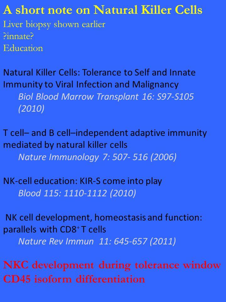 A short note on Natural Killer Cells Liver biopsy shown earlier ?innate.