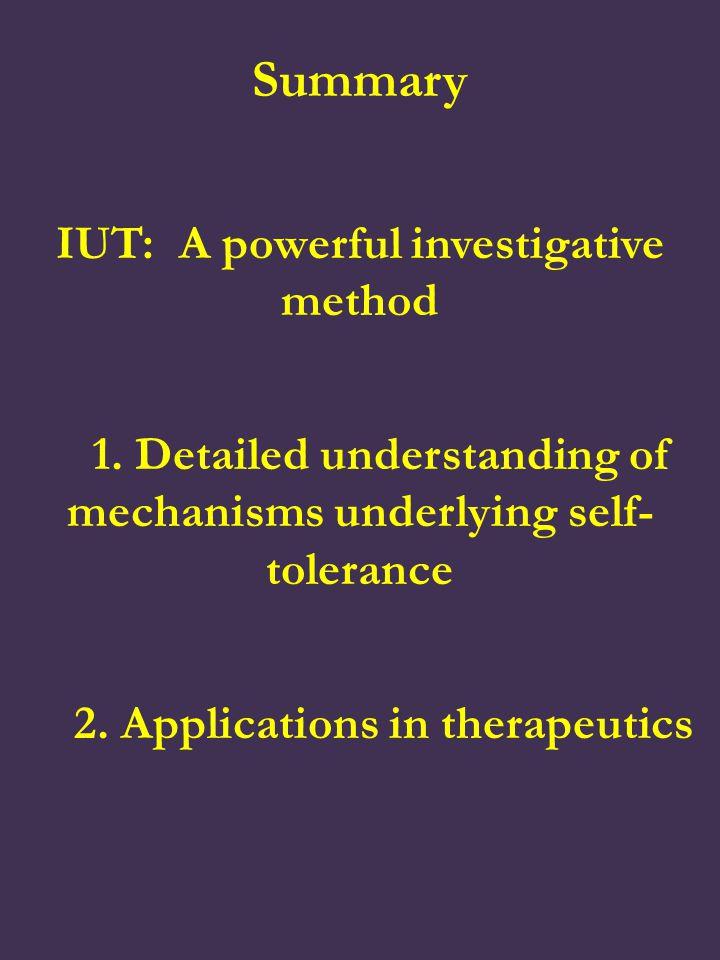 Summary IUT: A powerful investigative method 1.