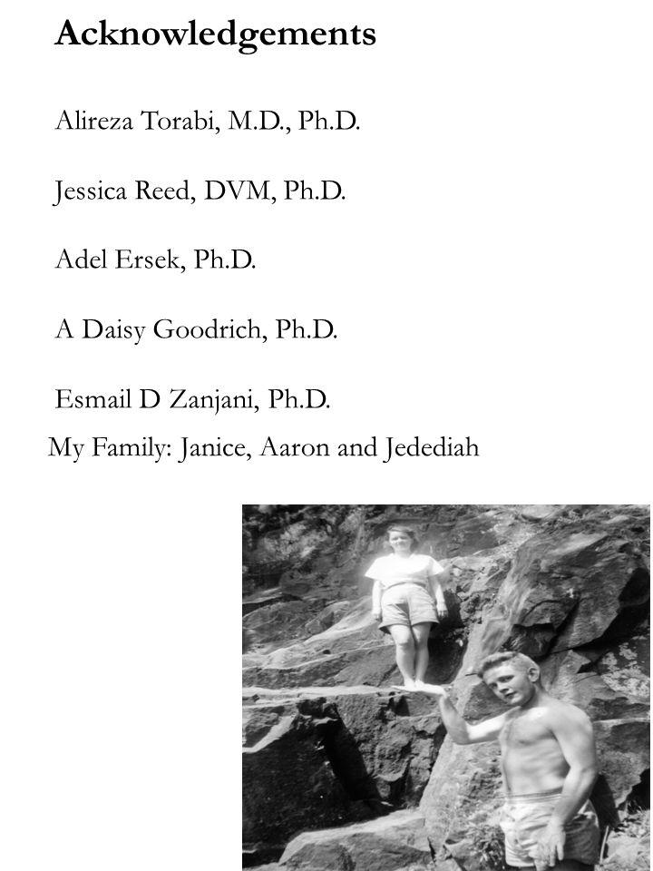 Acknowledgements Alireza Torabi, M.D., Ph.D.Jessica Reed, DVM, Ph.D.