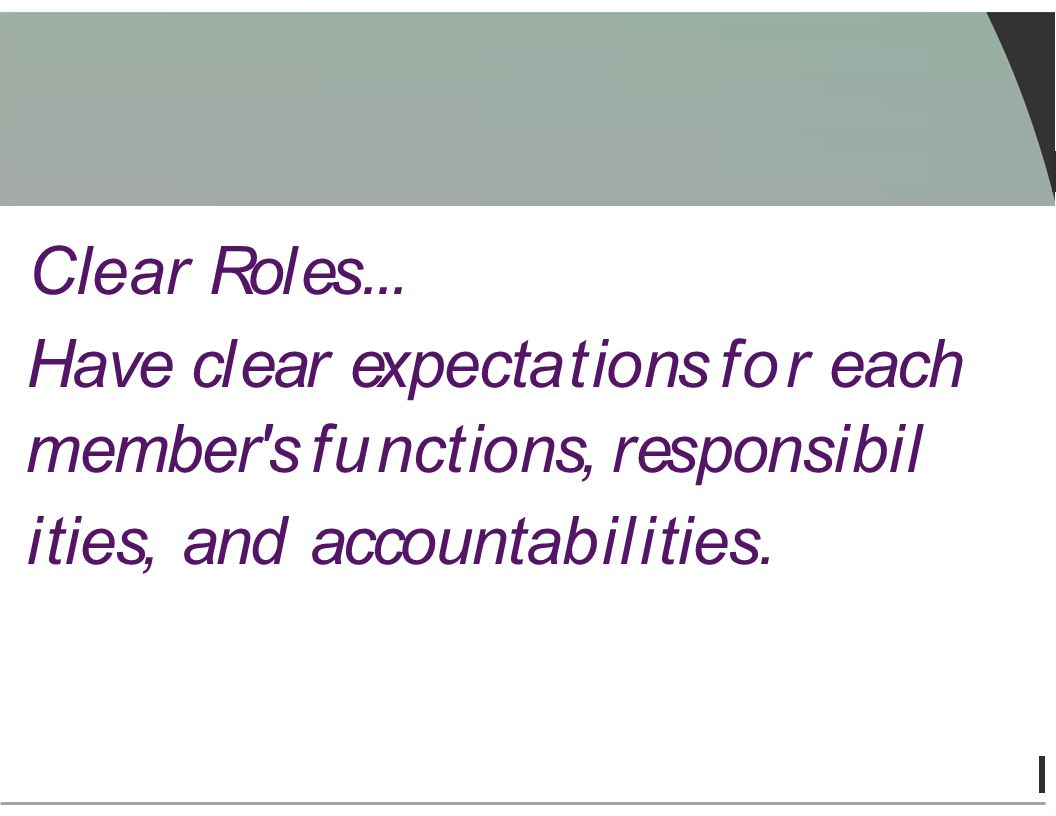 Clear Roles... Have cl ear expectations for each member's functions, responsibil ities, and accountabil ities.