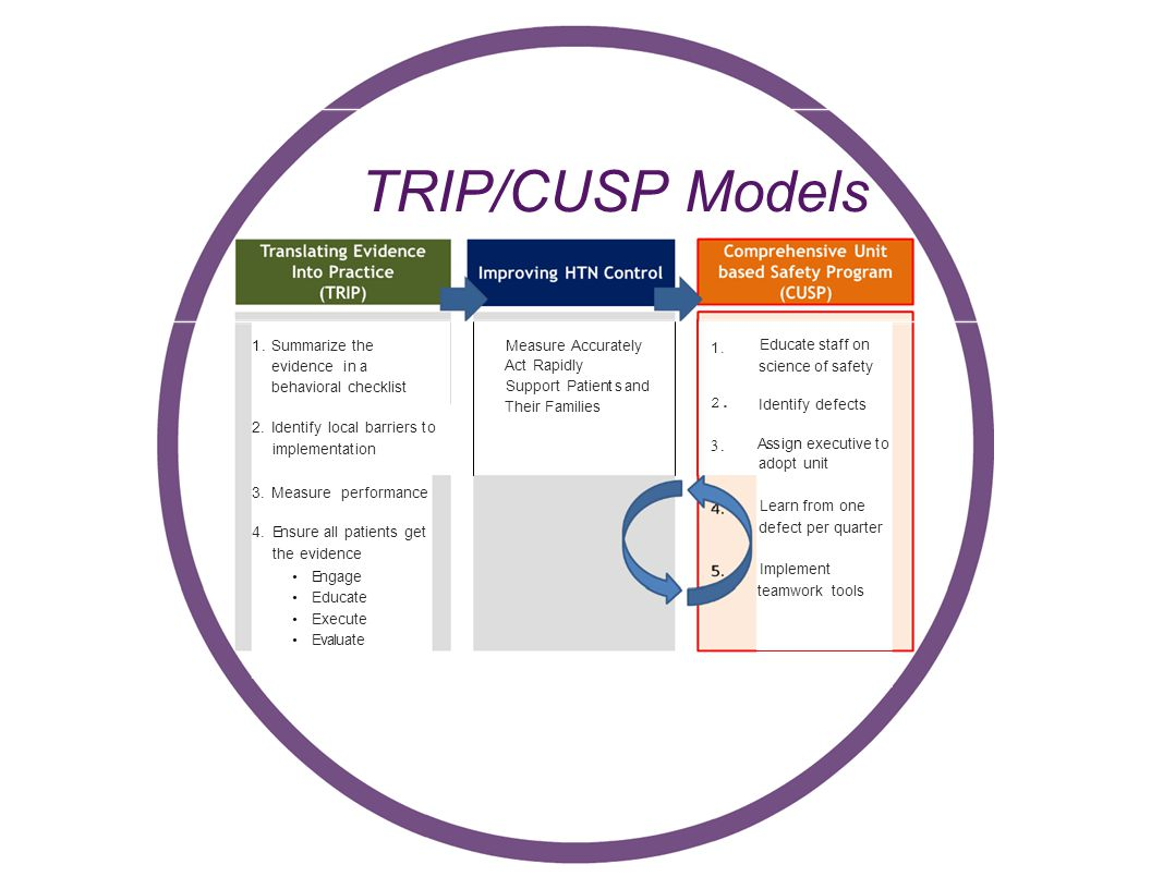 TRIP/CUSP Models 1. Summarize the evidence in a behavioral checklist 2.