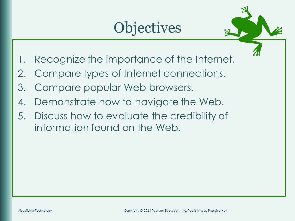 Objectives 1.Recognize the importance of the Internet.