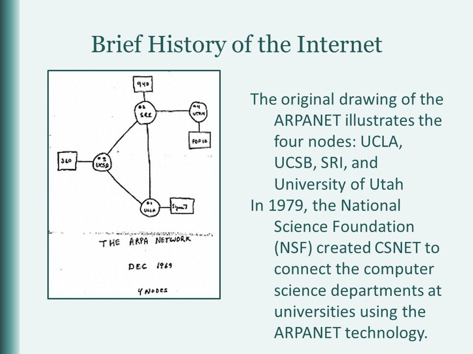 Brief History of the Internet In 1979, the National Science Foundation (NSF) created CSNET to connect the computer science departments at universities using the ARPANET technology.