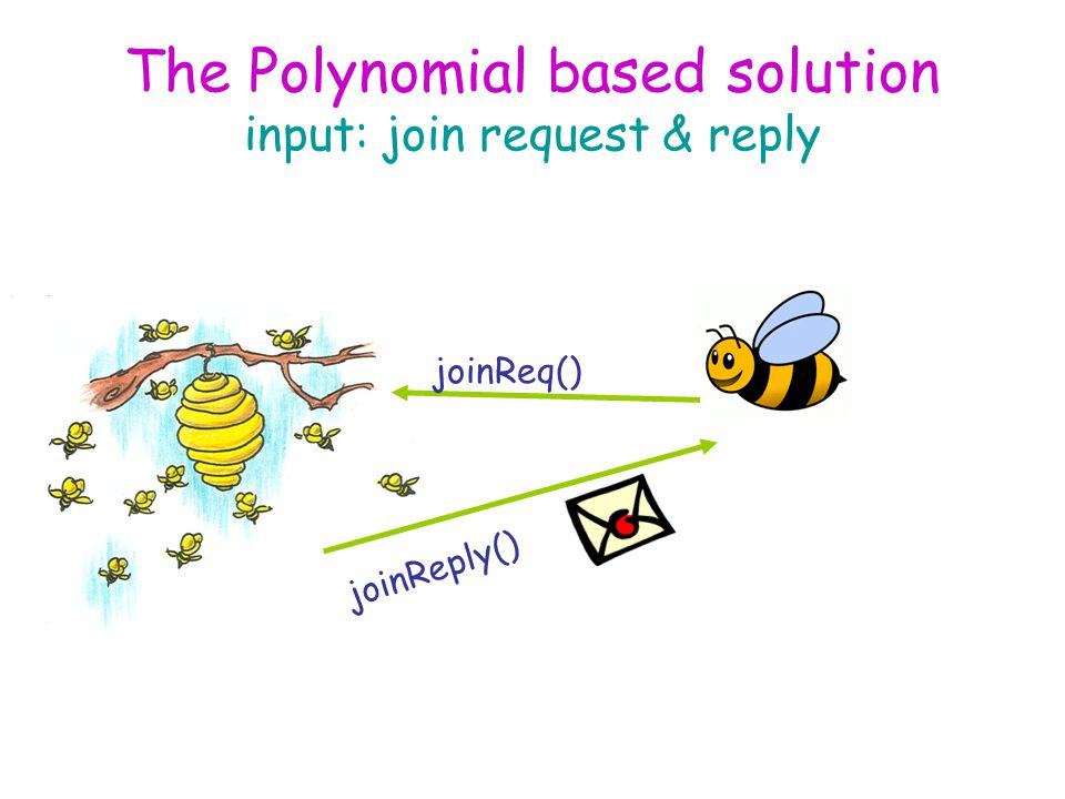 The Polynomial based solution input: join request & reply joinReq() joinReply()