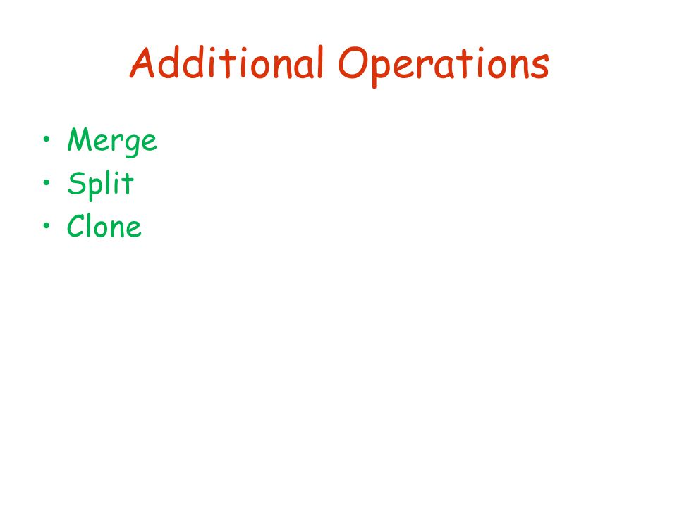 Additional Operations Merge Split Clone
