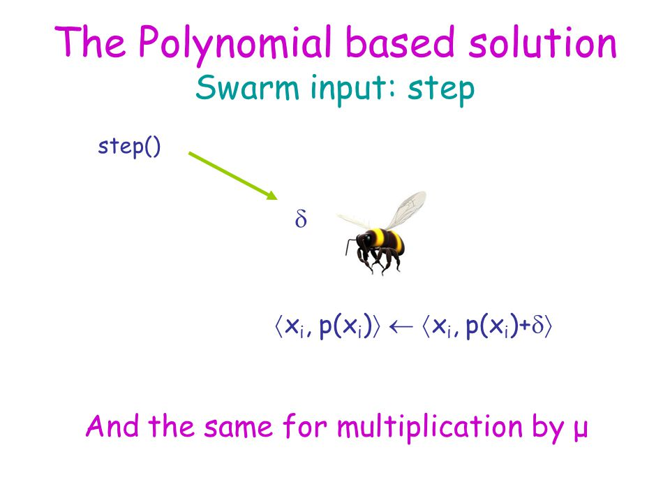 The Polynomial based solution Swarm input: step step()   x i, p(x i )    x i, p(x i )+  And the same for multiplication by μ