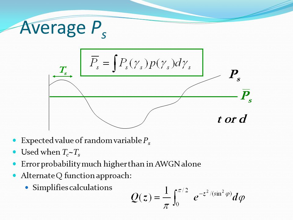 Average P s Expected value of random variable P s Used when T c ~T s Error probability much higher than in AWGN alone Alternate Q function approach: S