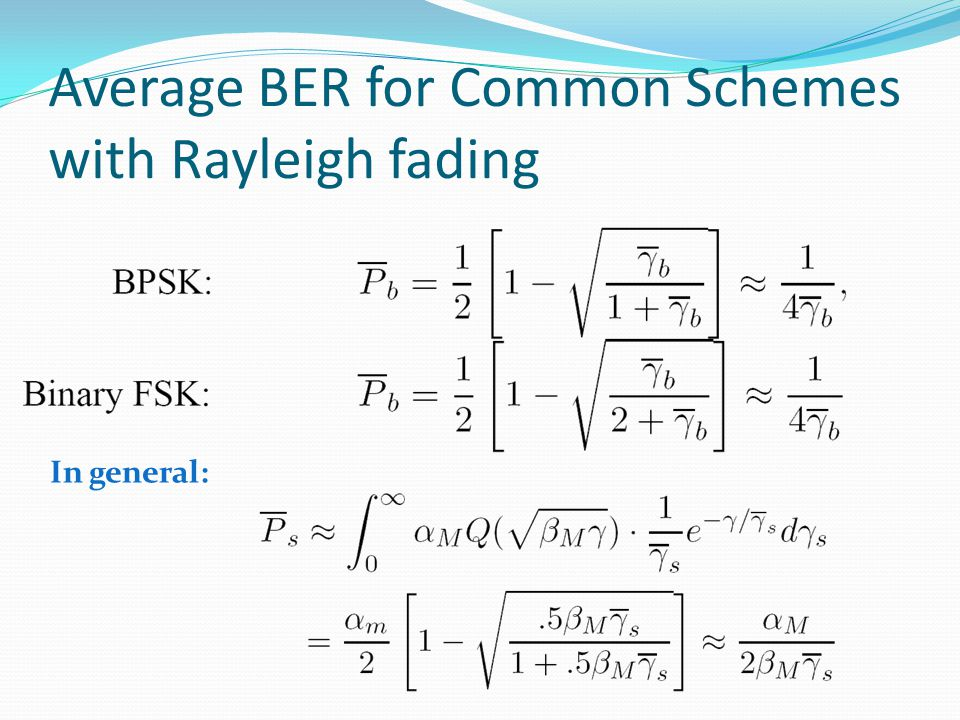 Average BER for Common Schemes with Rayleigh fading In general: