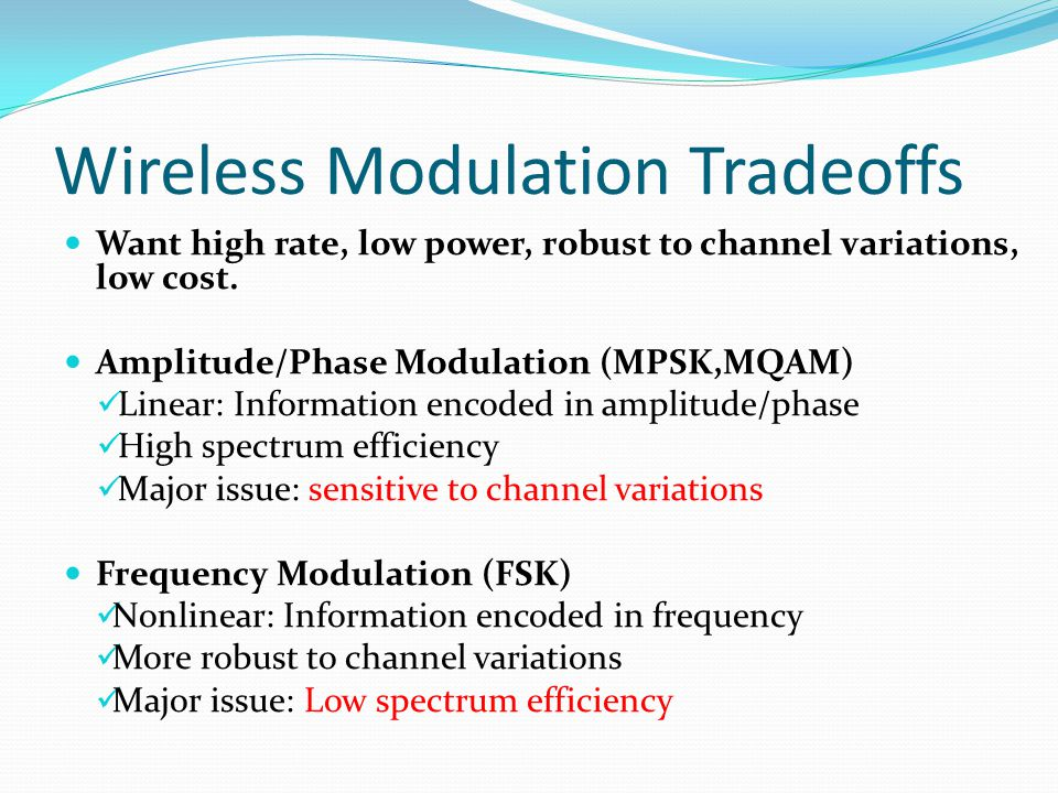 Amplitude/Phase Modulation Signal over i th symbol period: Signal constellation defined by (s i1,s i2 ) pairs M possible sets for (s i1,s i2 ): log 2 M bits per symbol Probability of symbol error (P s ) depends on: Minimum distance d min (depends on  s ) Number of nearest neighbors  M Approximate expression: