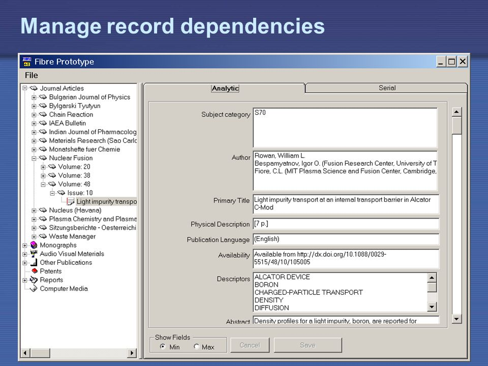 IAEA Manage record dependencies
