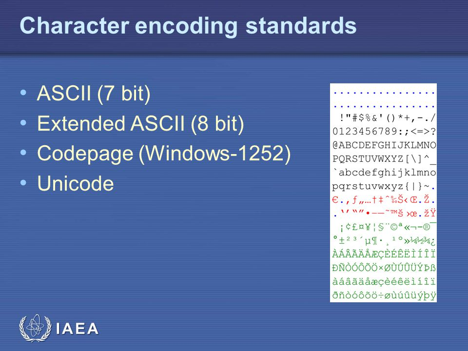 IAEA Unicode Compliance 00C0 Controls and Basic Latin007F 0123456789ABCDFF 00 10 20 ! #$%& ()*+,-./ 30 0123456789:;<=>.
