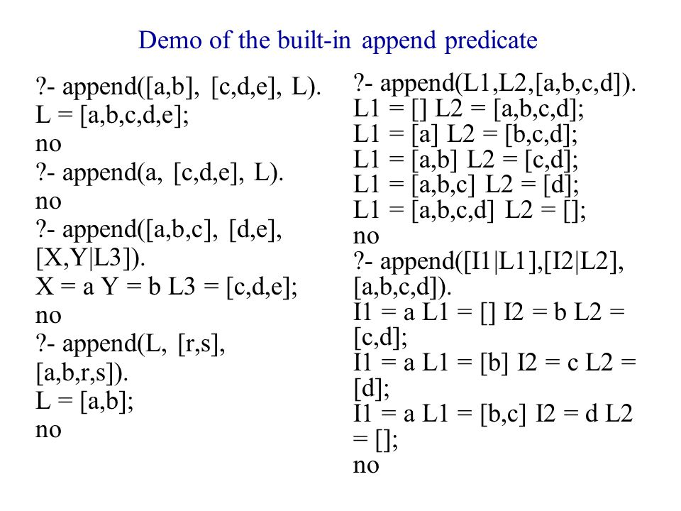 Demo of the built-in append predicate - append([a,b], [c,d,e], L).
