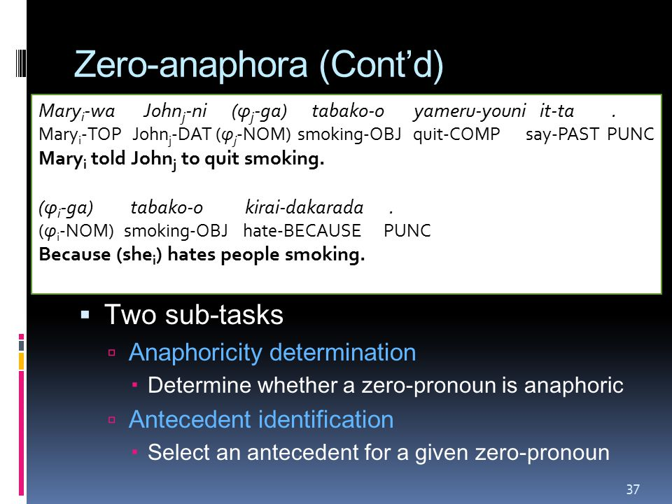 Zero-anaphora (Cont'd)  Two sub-tasks  Anaphoricity determination  Determine whether a zero-pronoun is anaphoric  Antecedent identification  Select an antecedent for a given zero-pronoun Mary i -wa John j -ni (φ j -ga) tabako-o yameru-youni it-ta.