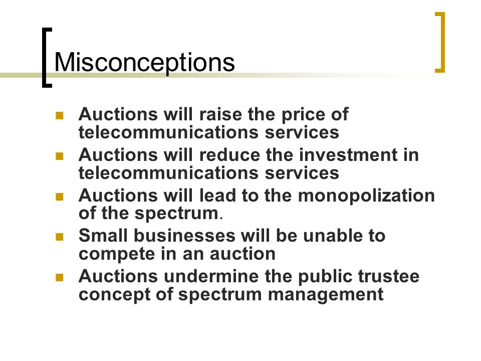 700 MHz Band Auction 698-806 MHz band 1,099 total licenses Scheduled to commence on January 16, 2008