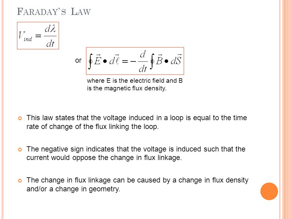 F ARADAY ` S L AW This law states that the voltage induced in a loop is equal to the time rate of change of the flux linking the loop. The negative sig