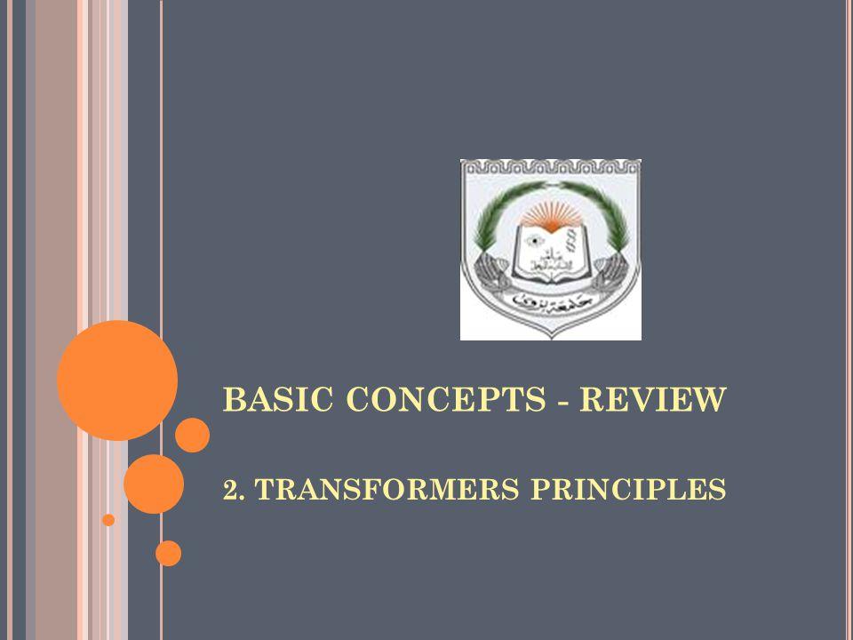 BASIC CONCEPTS - REVIEW 2. TRANSFORMERS PRINCIPLES