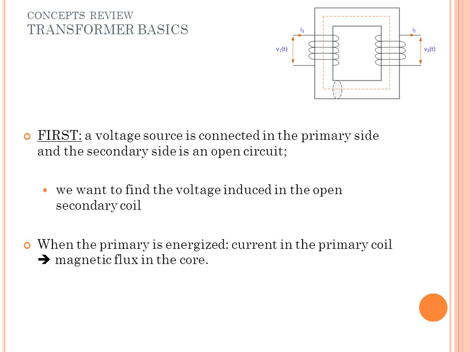 FIRST: a voltage source is connected in the primary side and the secondary side is an open circuit; we want to find the voltage induced in the open se