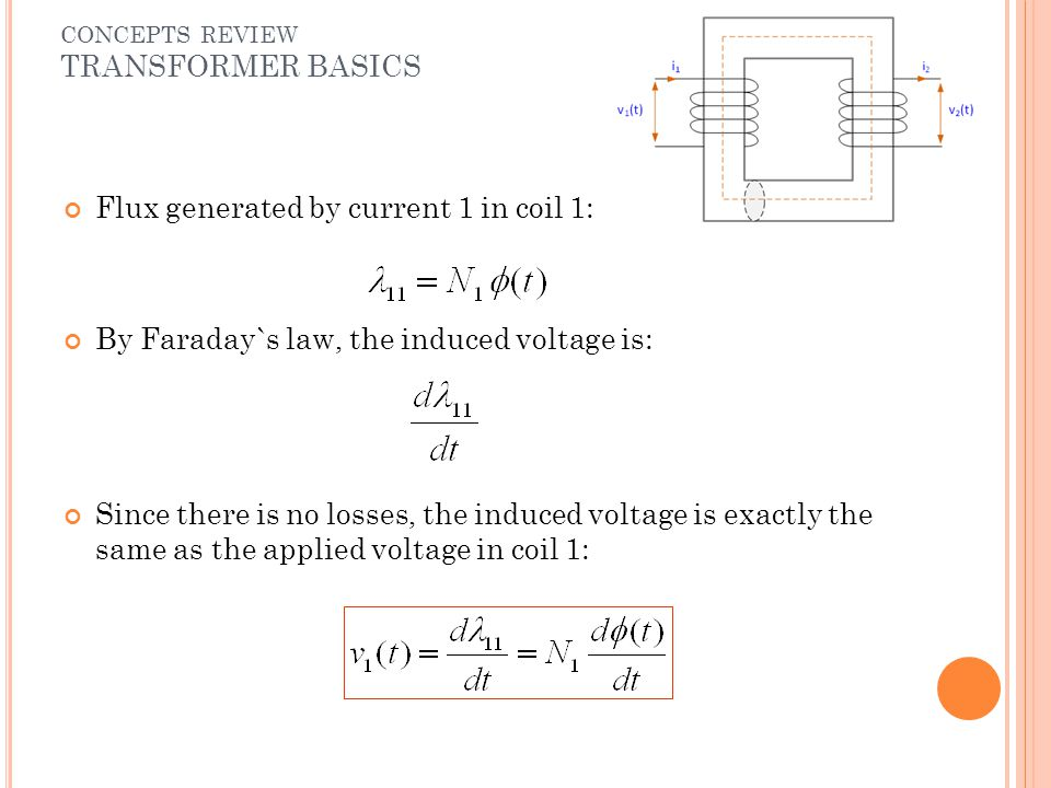 Flux generated by current 1 in coil 1: By Faraday`s law, the induced voltage is: Since there is no losses, the induced voltage is exactly the same as