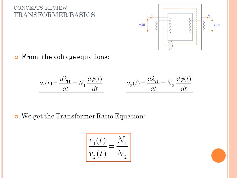 From the voltage equations: We get the Transformer Ratio Equation: CONCEPTS REVIEW TRANSFORMER BASICS