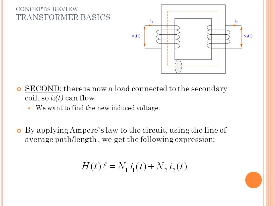 SECOND: there is now a load connected to the secondary coil, so i 2 (t) can flow. We want to find the new induced voltage. By applying Ampere`s law to