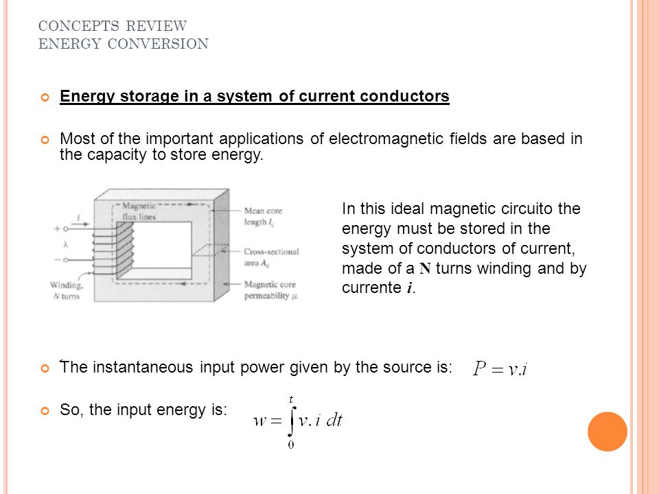 Energy storage in a system of current conductors Most of the important applications of electromagnetic fields are based in the capacity to store energ